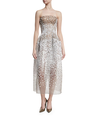 Strapless Sequined Illusion Gown, White/Black