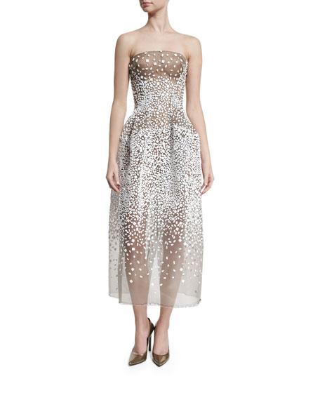 Zac Posen Strapless Sequined Illusion Gown, White/Black