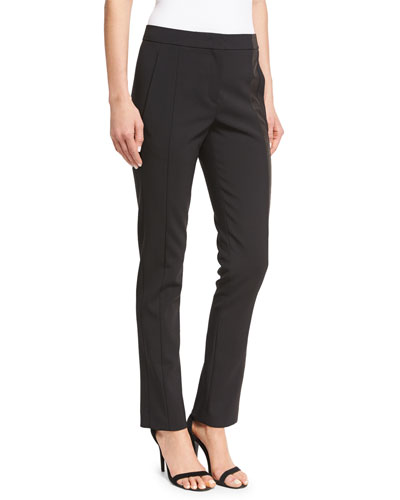 Side-Stripe Straight-Leg Pants