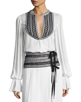 Embroidered Long-Sleeve Wrap Blouse, White/Black
