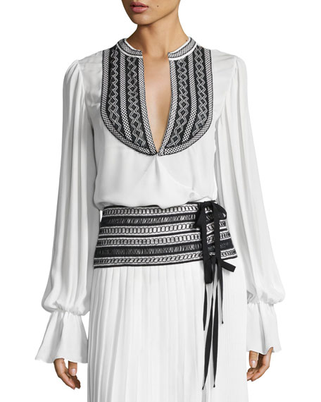 Oscar de la Renta Embroidered Long-Sleeve Wrap Blouse,