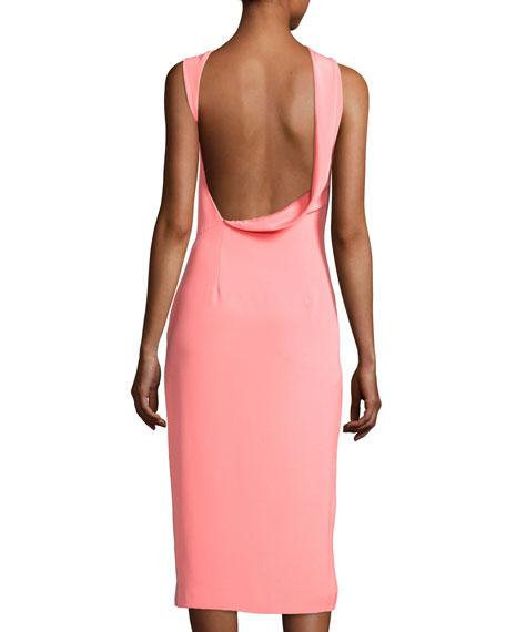 Halter Side-Slit Sheath Dress, Pink
