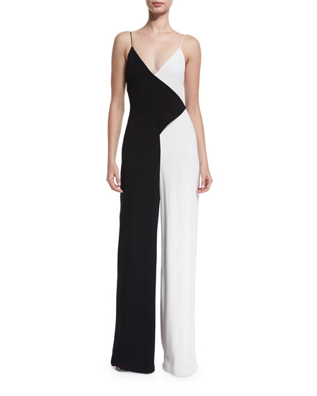 Cushnie Et Ochs Colorblock Sleeveless V-Neck Jumpsuit,