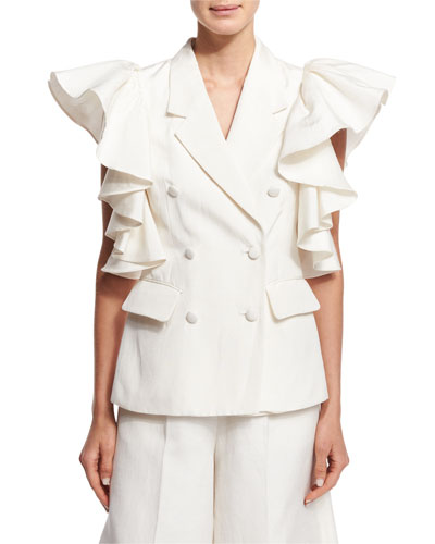 Ruffled Sleeveless Jacket, Ivory