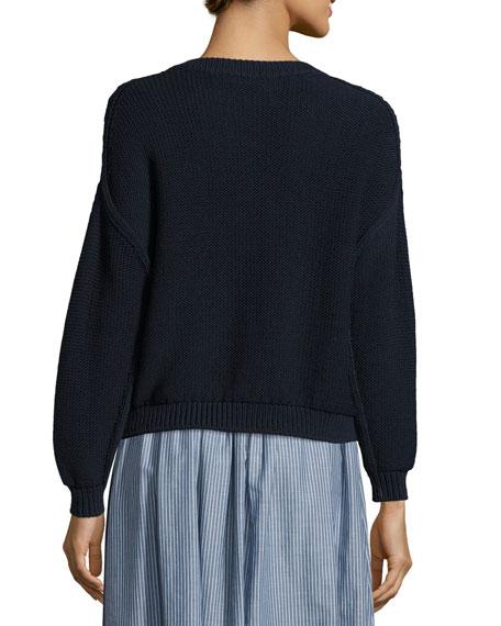 Open-Knit Drop-Shoulder Pullover Sweater