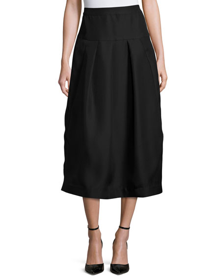 Co Pleated High-Waist Midi Skirt, Black