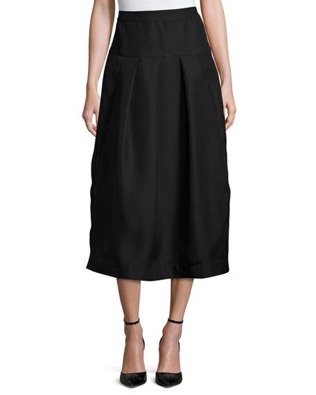 Co Pleated High-Waist Midi Skirt, Black