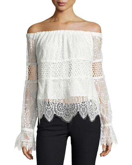 Off-the-Shoulder Lace Crop Top