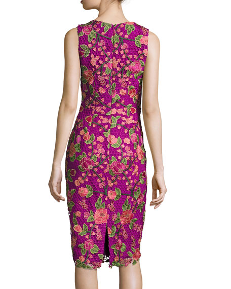 Sleeveless Floral Mesh Sheath Dress, Fuchsia