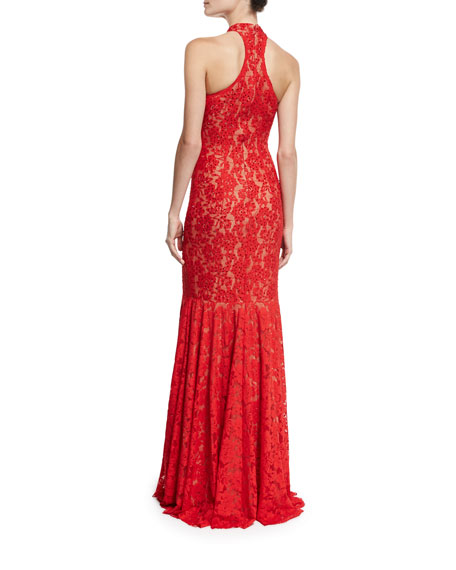 Sleeveless Beaded Lace Mermaid Gown, Red