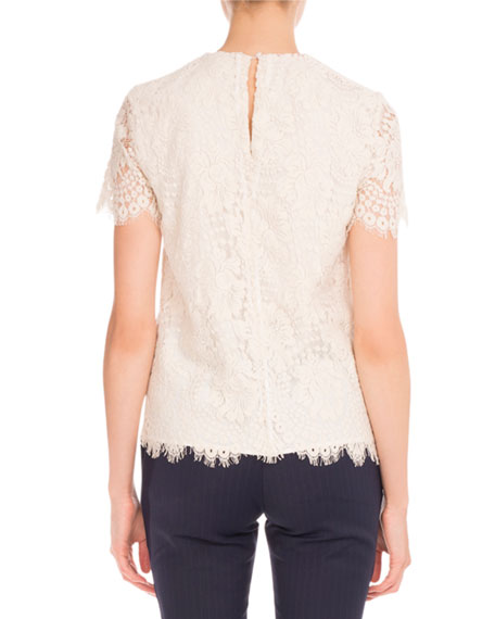 Lace Short-Sleeve Round-Neck Top