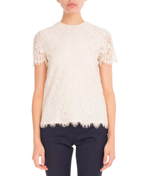 Victoria Beckham Lace Short-Sleeve Round-Neck Top