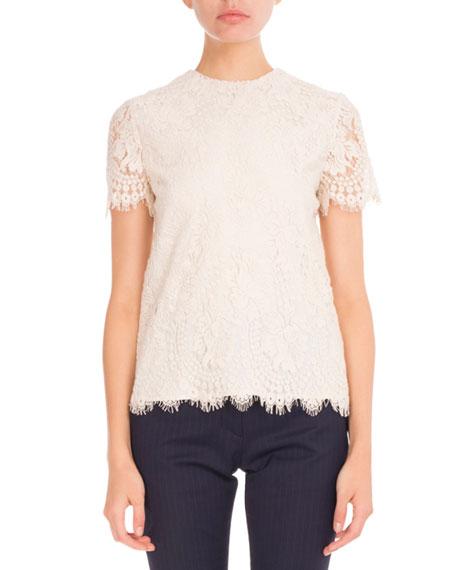 Victoria Beckham Lace Short-Sleeve Round-Neck Top