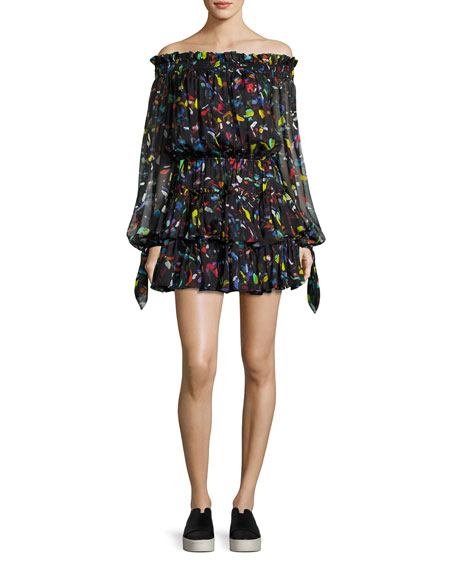 Caroline Constas Lou Off-the-Shoulder Printed Chiffon Dress,