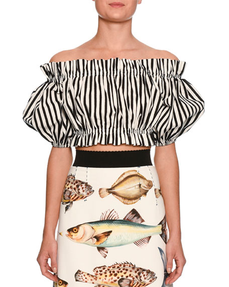 Striped Off-the-Shoulder Cropped Top, White/Black