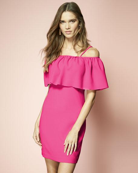 Cold-Shoulder Popover Sheath Dress