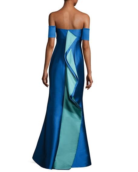 Strapless Stretch Satin Mermaid Gown, Medium Blue