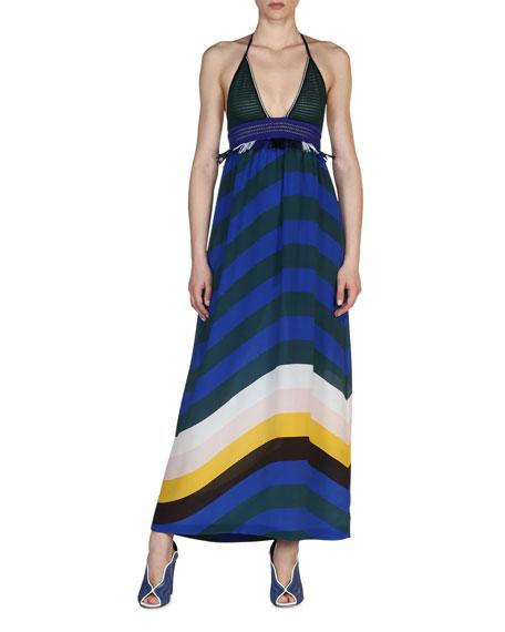 Fendi Crochet & Wave-Stripe Combo Maxi Dress, Bluebird