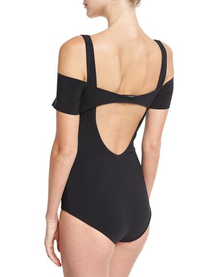 Iride Cold-Shoulder One-Piece Swimsuit, Black