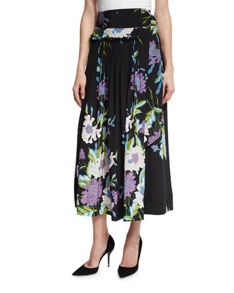 Diane von Furstenberg Floral-Print D-Ring Silk Midi Skirt,