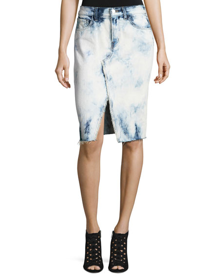 J Brand Trystan Bleached Denim Midi Skirt with