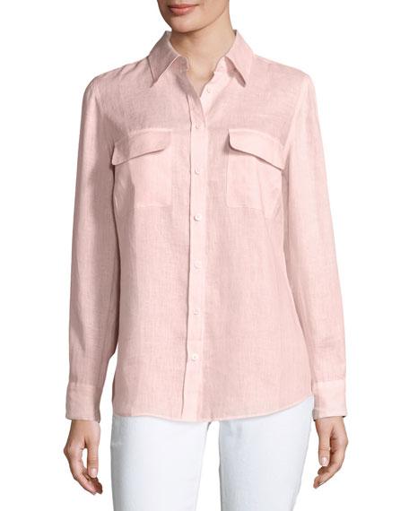 Long-Sleeve Button-Front Linen Top, Petite
