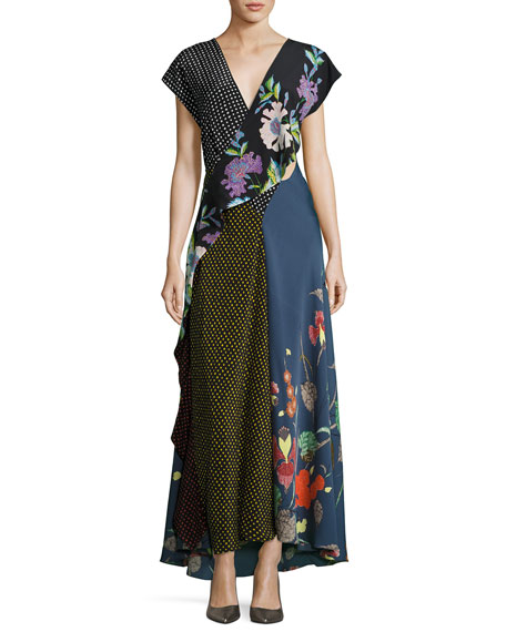 Diane von Furstenberg Draped Mixed-Print Floral & Dot