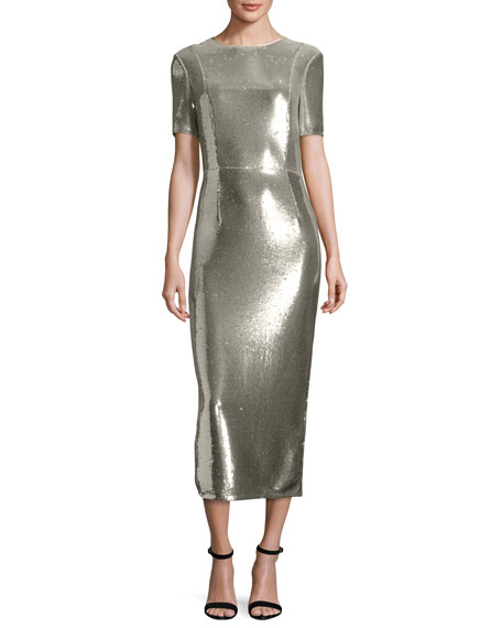 Diane von Furstenberg Sequined Sheath Midi Dress, Silver