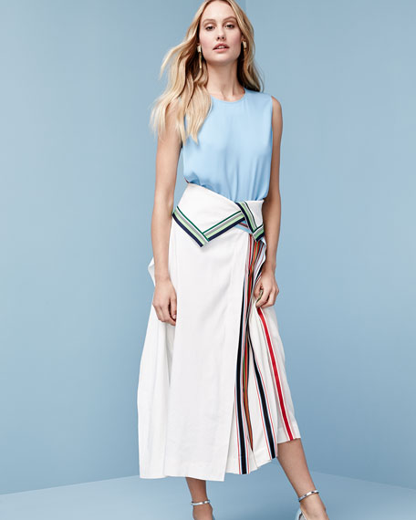 Side-Pleat Ribbon-Stripe Midi Skirt, White