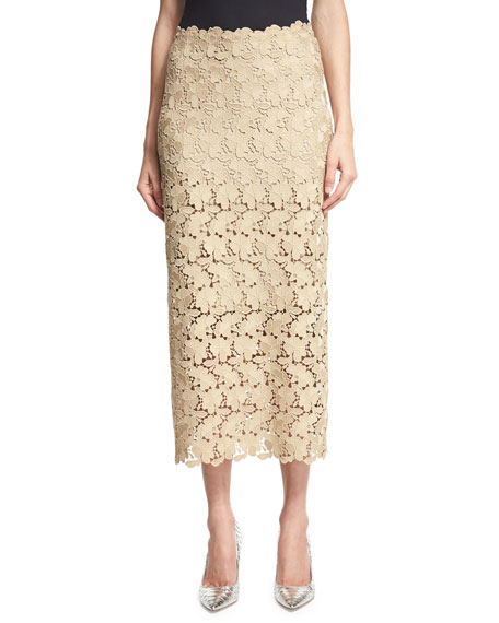 Robert Rodriguez Lace Midi Pencil Skirt, Beige
