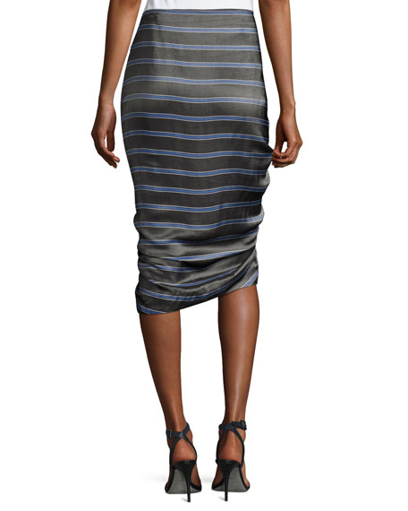 Drew Striped Cascade Ruffle Pencil Skirt