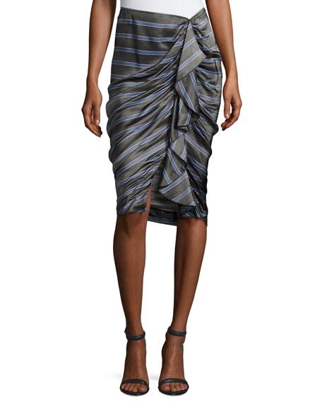 Drew Striped Cascade Ruffle Pencil Skirt