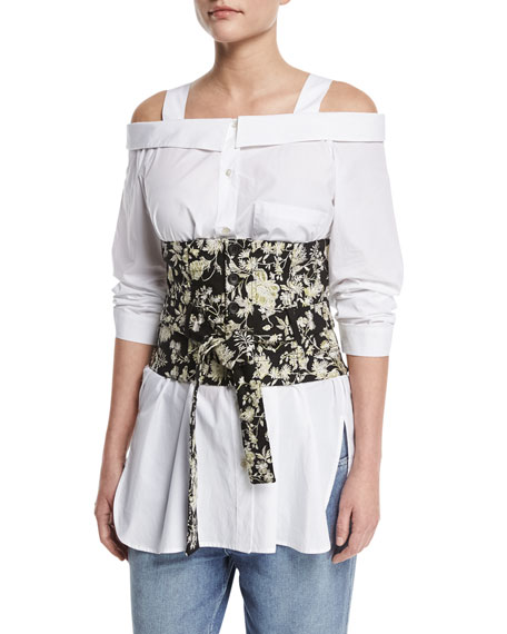 Floral Embroidered Tie-Waist Corset
