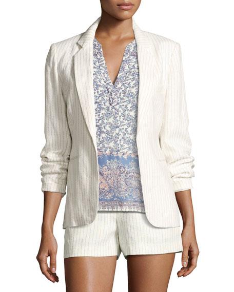 Joie Mehira Pinstripe Blazer, Sleeveless Paisley-Print Silk Shirt