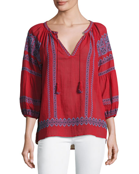 Joie Gauge Embroidered Peasant Top, Red and Matching