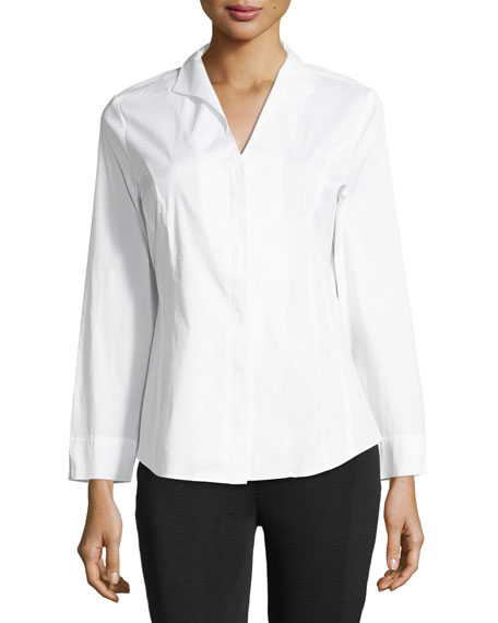 Image 1 of 4: Long-Sleeve Stretch-Cotton Shirt