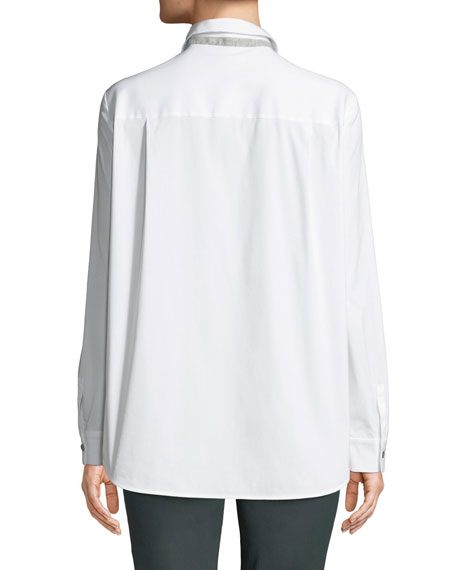 Brody Long-Sleeve Poplin Blouse, White