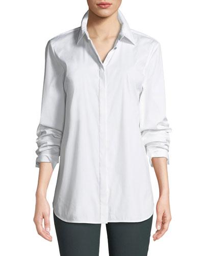 Brody Long-Sleeve Poplin Blouse, White