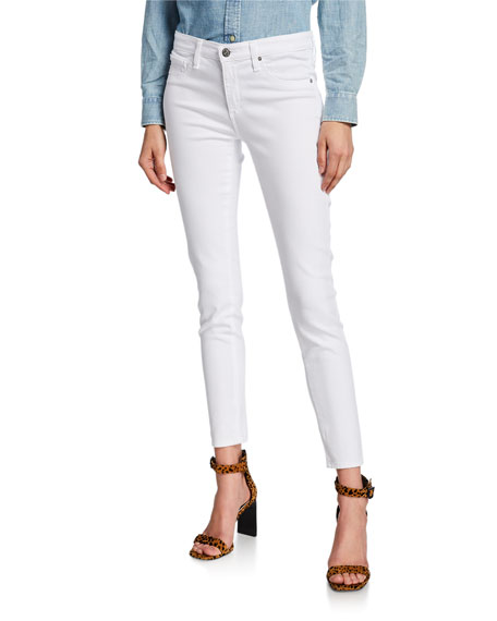 AG Distressed Skinny Ankle Jeans, One Year White