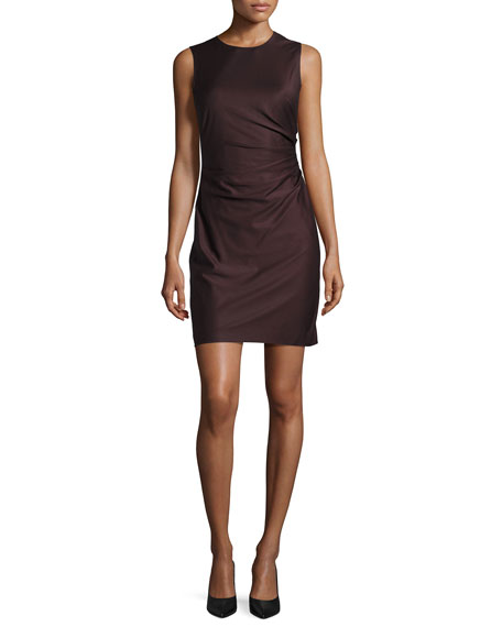 Theory Jorianna Gathered-Side Mini Dress, Dark Purple