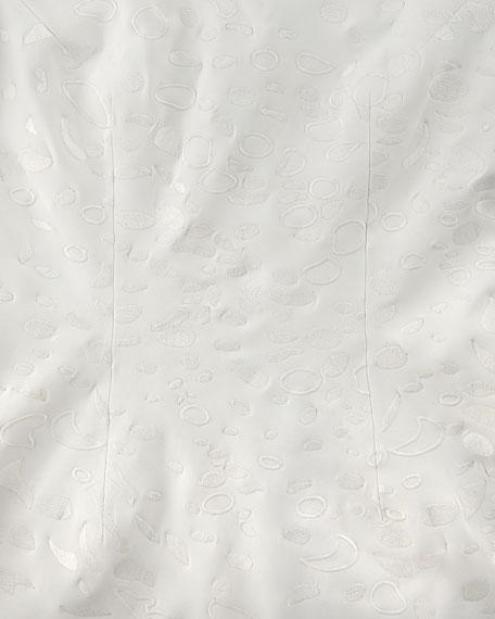 3/4-Sleeve Embroidered Ponte Sheath Dress