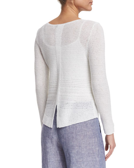 NIC+ZOE Plus Size Long-Sleeve Sheer Illusion Sweater Top