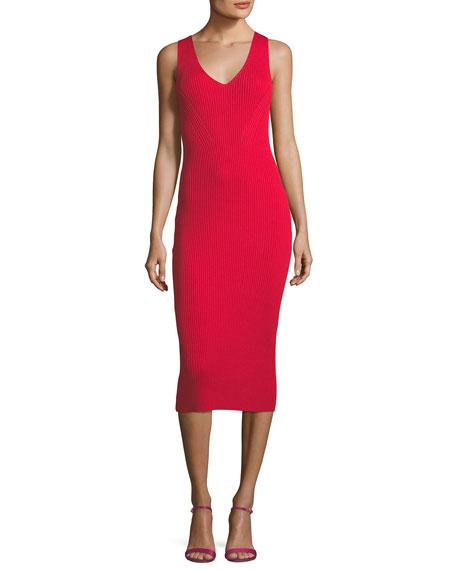Sleeveless V-Neck Ribbed Sweater Dress