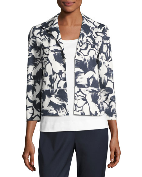 Lafayette 148 New York Bellene Floral-Print Zip Jacket
