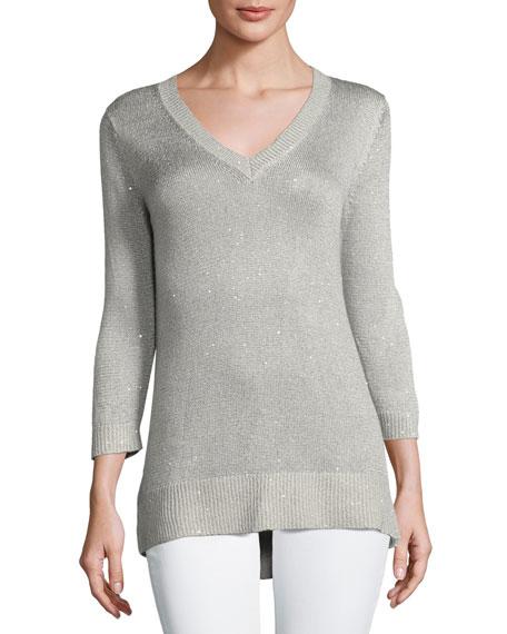3/4-Sleeve Sequin V-Neck Pullover