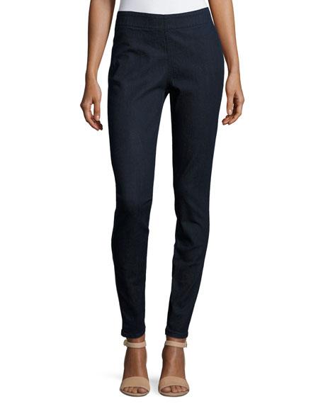 Joan Vass Petite Stretch Denim Slim Jeans