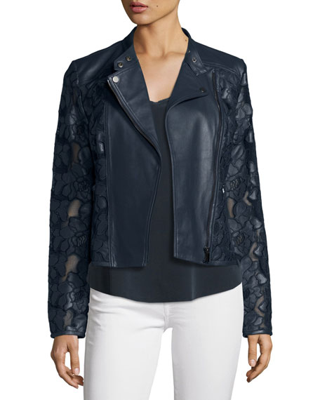 Neiman Marcus Floral-Crochet Leather Moto Jacket, Navy