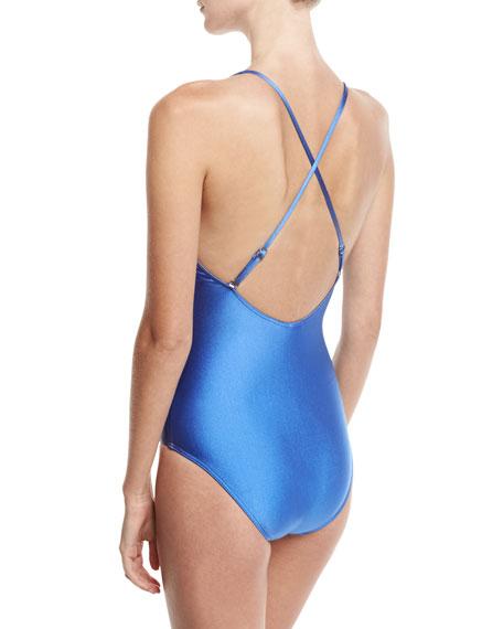 Heartbreaker Crisscross One-Piece Swimsuit, Blue