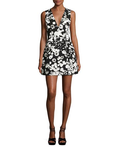 Alice + Olivia Patty Metallic Floral Lantern Dress,