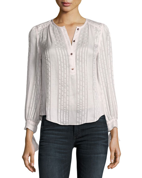 Rebecca Taylor Long-Sleeve Striped Silk Top